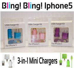 Apple Iphone 5 & 6 Charger 3 in1 Kit Various Colors